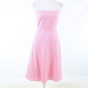 J. Crew Pink cotton strapless A-line dress 6